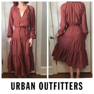 Urban Outfitters Brown Boho Peasant Dress